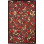 Asian Hand-tufted Red/ Dark Brown Wool Rug (4'9 x
