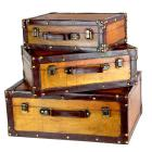 Quickway Imports Old Vintage Suitcases (Set of 3)