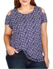 LUCKY BRAND PLUS Plus Plus Cold Shoulder Printed T