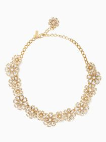 clear as crystal short floral necklace