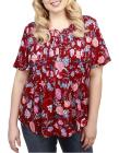 LUCKY BRAND PLUS Plus Short-Sleeve Floral-Print To