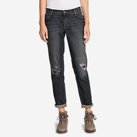 Women's Boyfriend Flannel-Patch Jeans
