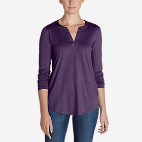 Women's Gate Check Long-Sleeve Split-Neck Tuni