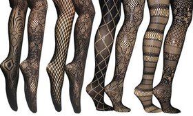 Assorted Pattern Fishnet Tights in Regular and Plu