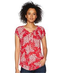 CHAPS Floral Lace-Up Jersey Top
