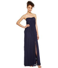 Aidan Mattox Strapless Shirred Chiffon Gown
