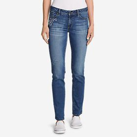Women's Elysian Slim Straight Embroidered Jean