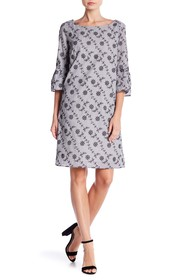 Jones New York Bell Sleeve Embroidered Print Dress