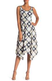 Jones New York Sleeveless Plaid Handkerchief Dress