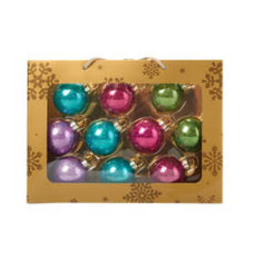 Solid Glass Christmas Ornaments - 10ct.