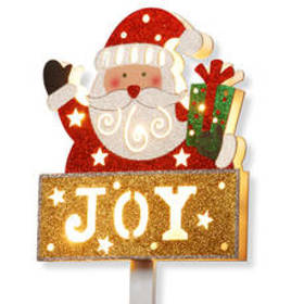 National Tree 35in. Pre-Lit Santa with JOY Sign