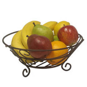 Home Basics Bronze Scroll Fruit Basket