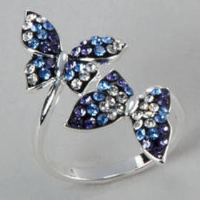 Womens Silver Plated Brass Crystal Butterfly Ring
