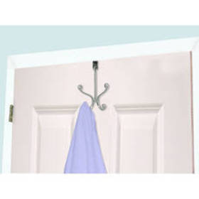 Home Basics Over The Door Two Hook Chrome Hanger