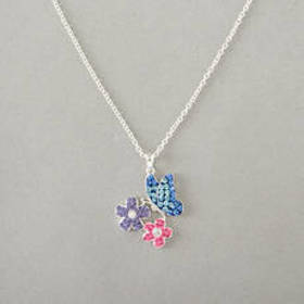 Womens Silver Plated Butterfly And Flower Crystal