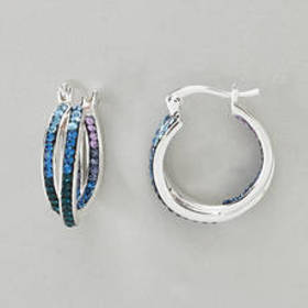 Womens Silver Plated Twist Inside Out with Blue Cr