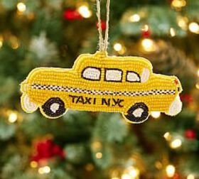 Beaded Taxi Ornament