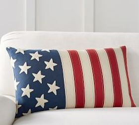 Flag Embroidered Lumbar Pillow Cover