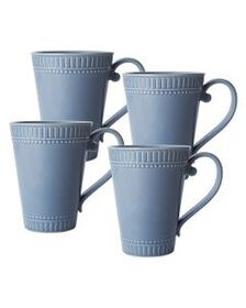Set of 4 Fluted Blue Mugs