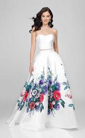 Terani Couture - Two-Piece Floral Pleated A-Line G
