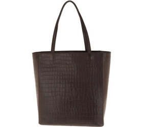 Martha Stewart Croco Embossed Leather Tote - A3461