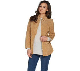 Isaac Mizrahi Live! Suede Anorak Jacket with Patch