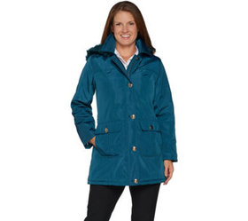 Dennis Basso Water Resistant Coat with Quilted Lin