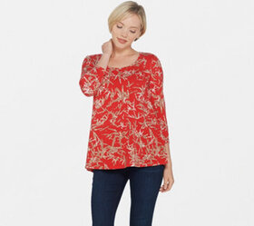 H by Halston Bamboo Printed Scoop Neck 3/4 Sleeve
