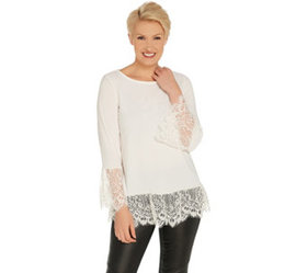 Dennis Basso Caviar Crepe Scoop-Neck Top with Lace