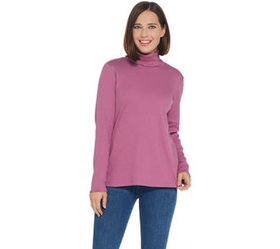 """As Is"" Denim & Co. Rib Long- Sleeve T-Neck Top wi"