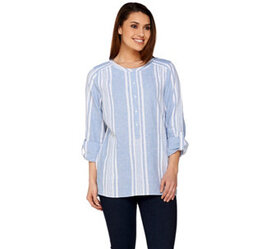 """""""As Is"""" Denim & Co. Striped Yarn Dyed Woven Top -"""