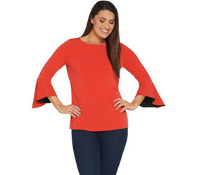 """""""As Is"""" Susan Graver Liquid Knit Bell Sleeve Top w"""