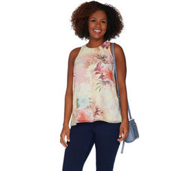 """As Is"" Vince Camuto Faded Blooms Woven Sleeveless"