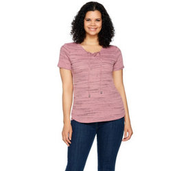 """As Is"" Lisa Rinna Collection Short Sleeve Lace Up"