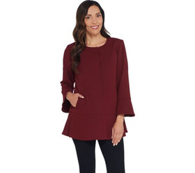 """""""As Is"""" Dennis Basso Luxe Crepe Peplum Jacket with"""