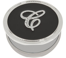 """As Is"" Crystal Initial Compact Mirror with Magnif"