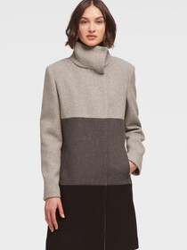 COLORBLOCK BRUSHED WOOL COAT