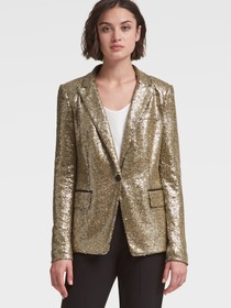 GOLD SEQUINED BLAZER