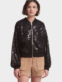 SEQUINED BOMBER JACKET WITH BALLOON SLEEVE