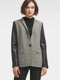 CHECK-PRINT JACKET WITH CONTRAST SLEEVE