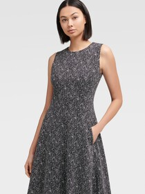 TWEED KNIT FIT-AND-FLARE DRESS