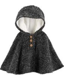 Baby GirlFuzzy-Lined Cape Poncho