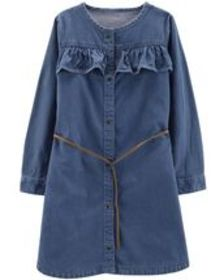 Kid GirlBelted Denim Shirt Dress