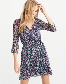 Chiffon Wrap-Front Dress, NAVY BLUE FLORAL