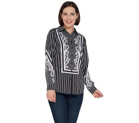 Bob Mackie Woven Pinstriped Button Front Blouse -