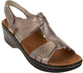 """""""As Is"""" Clarks Leather Sandals w/Adjustability - L"""