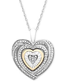 Diamond Accent Two-Tone Heart Pendant Necklace in