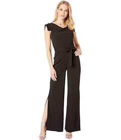 Bebe Asymmetrical Cowl Neck Cap Sleeve Jumpsuit