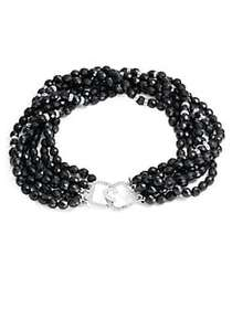 Kenneth Jay Lane 6-Row Jet Beaded Crystal Necklace