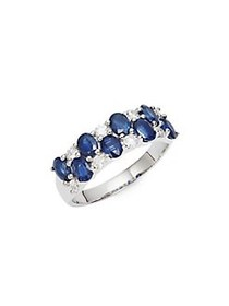 Lord & Taylor 14K White Gold Diamond and Sapphire
